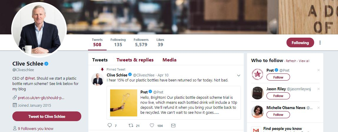 Pret's CEO Twitter - Hook Research